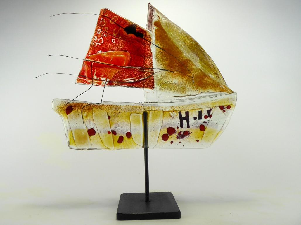 Glas-skulptur-Frachtsegler-Beate Kuchs
